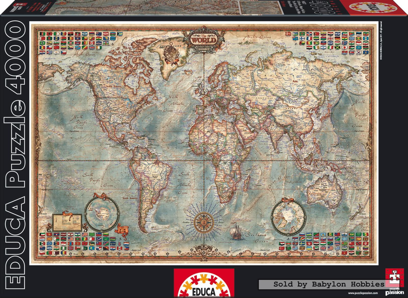 4000 pcs jigsaw puzzle map of the world maps educa 14827 ebay. Black Bedroom Furniture Sets. Home Design Ideas