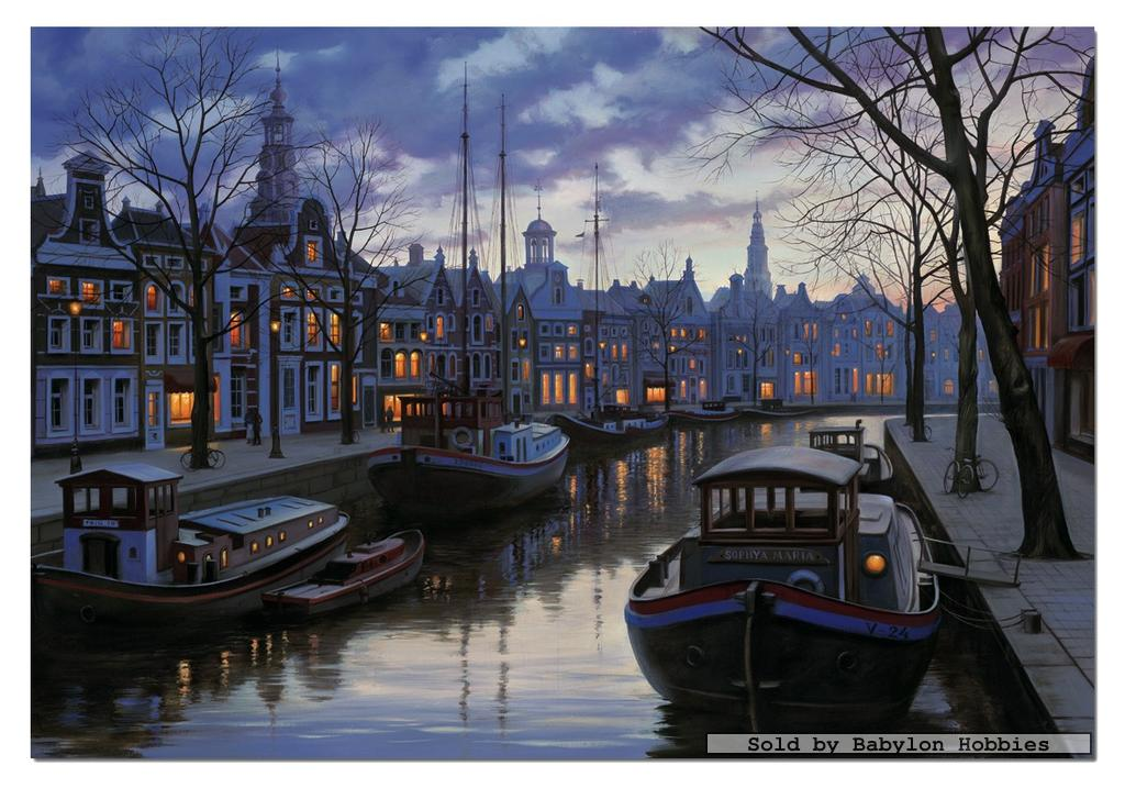 picture 1 of EDUCA 1500 pieces jigsaw puzzle: Eugene Lushpin - Amsterdam in the evening (15185)