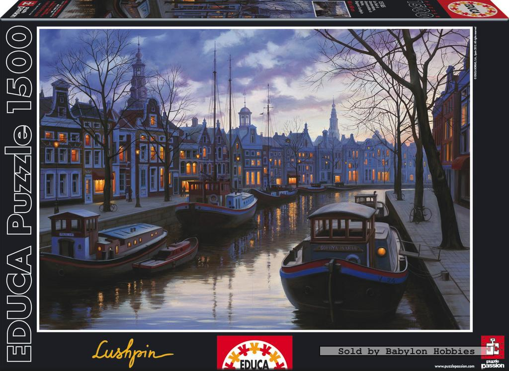 picture 2 of EDUCA 1500 pieces jigsaw puzzle: Eugene Lushpin - Amsterdam in the evening (15185)