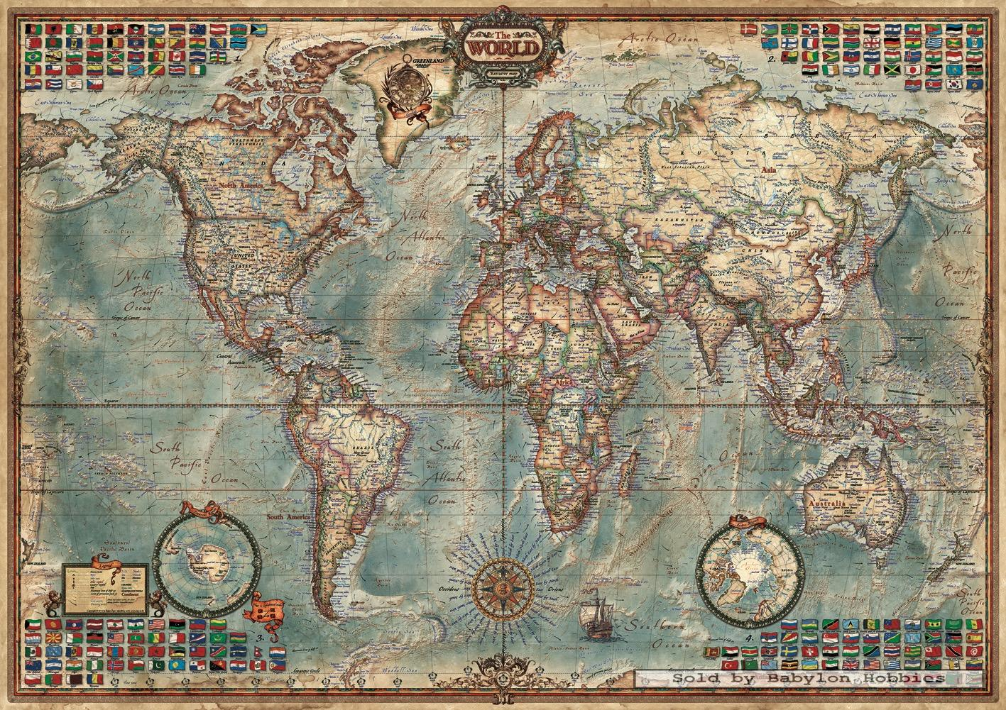 1500 pcs jigsaw puzzle political map of the world maps. Black Bedroom Furniture Sets. Home Design Ideas