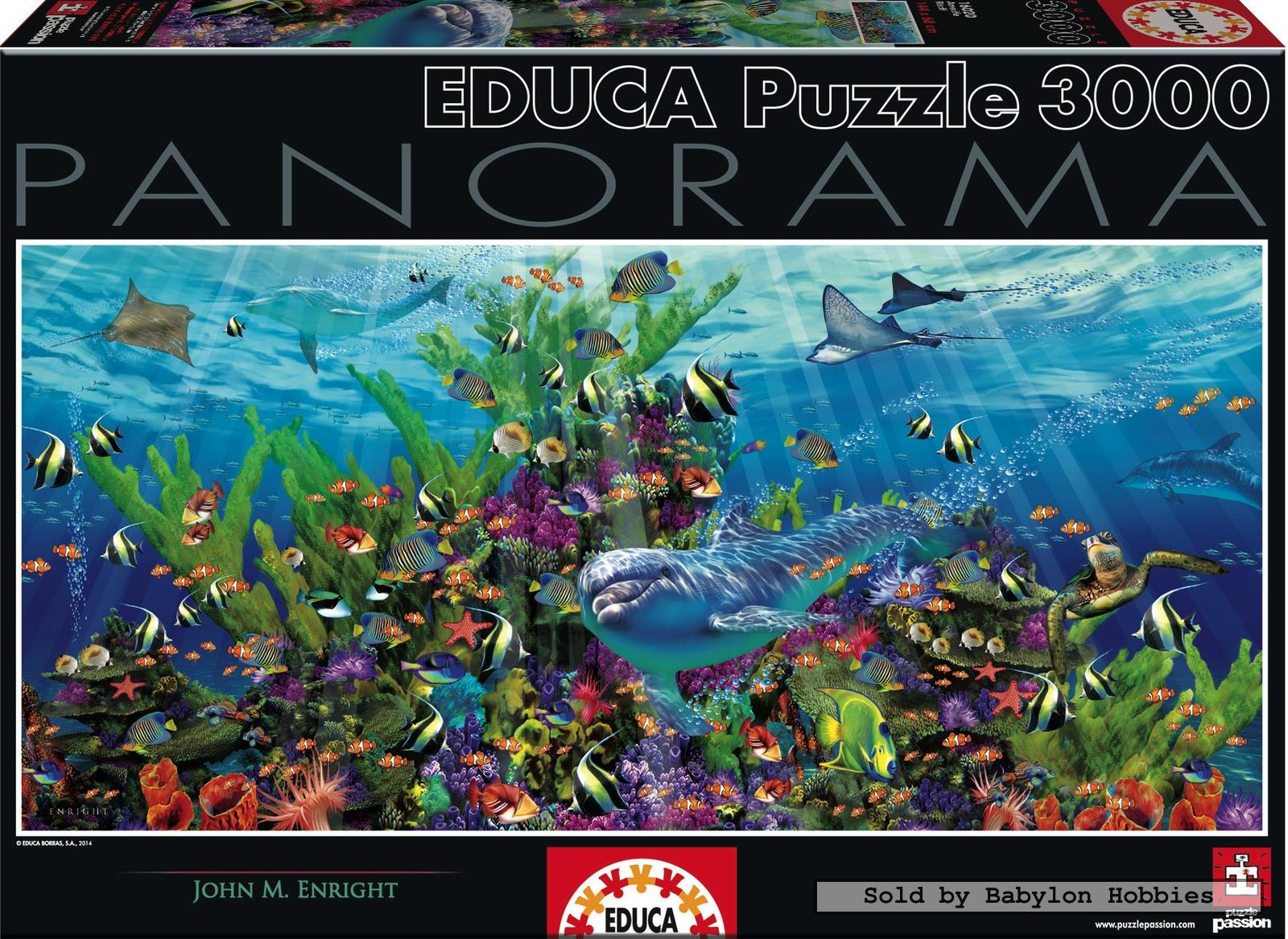 3000 pcs jigsaw puzzle panorama dolphin reef fish sea. Black Bedroom Furniture Sets. Home Design Ideas