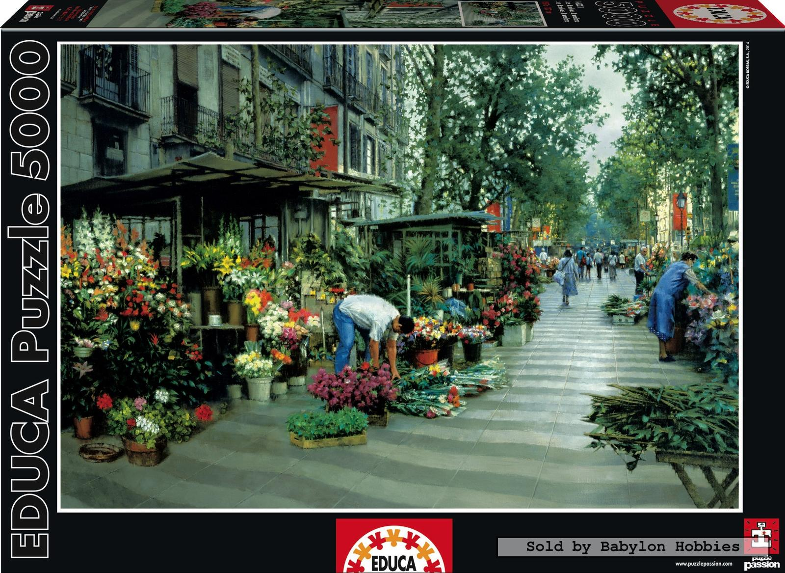 5000 pcs jigsaw puzzle las ramblas barcelona flowers. Black Bedroom Furniture Sets. Home Design Ideas