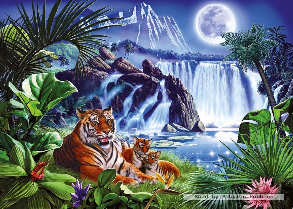 tigers by waterfall