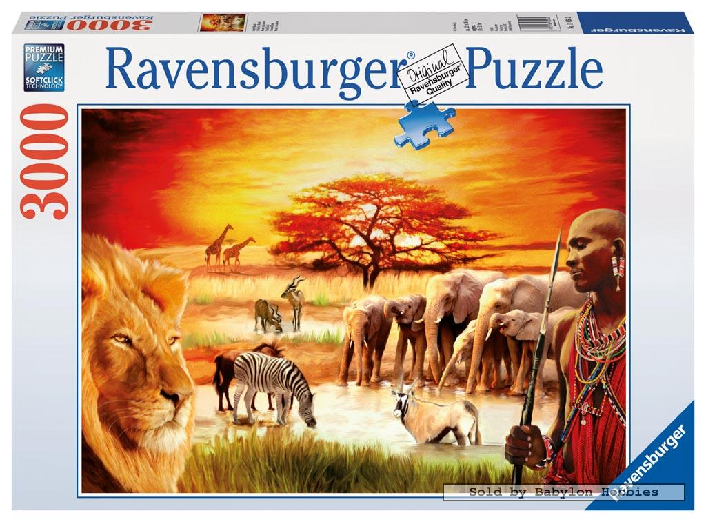 3000 pcs jigsaw puzzle proud maasai lions africa elephants ravensburger ebay. Black Bedroom Furniture Sets. Home Design Ideas