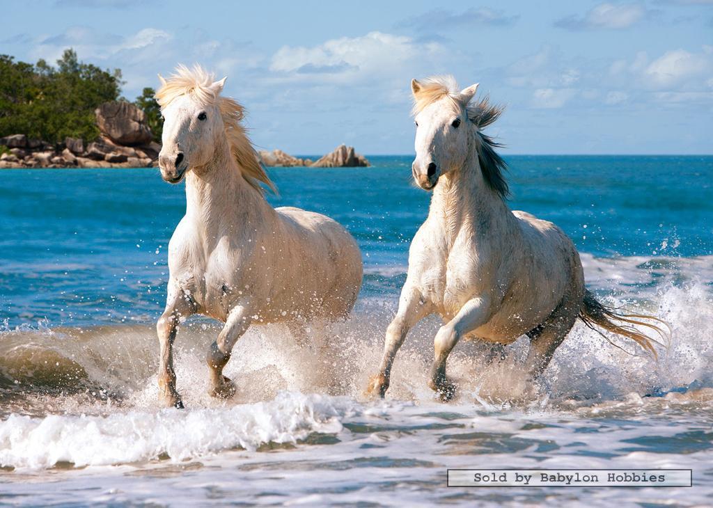 1000 St Puzzel Witte Paarden In Galop Dieren Paarden