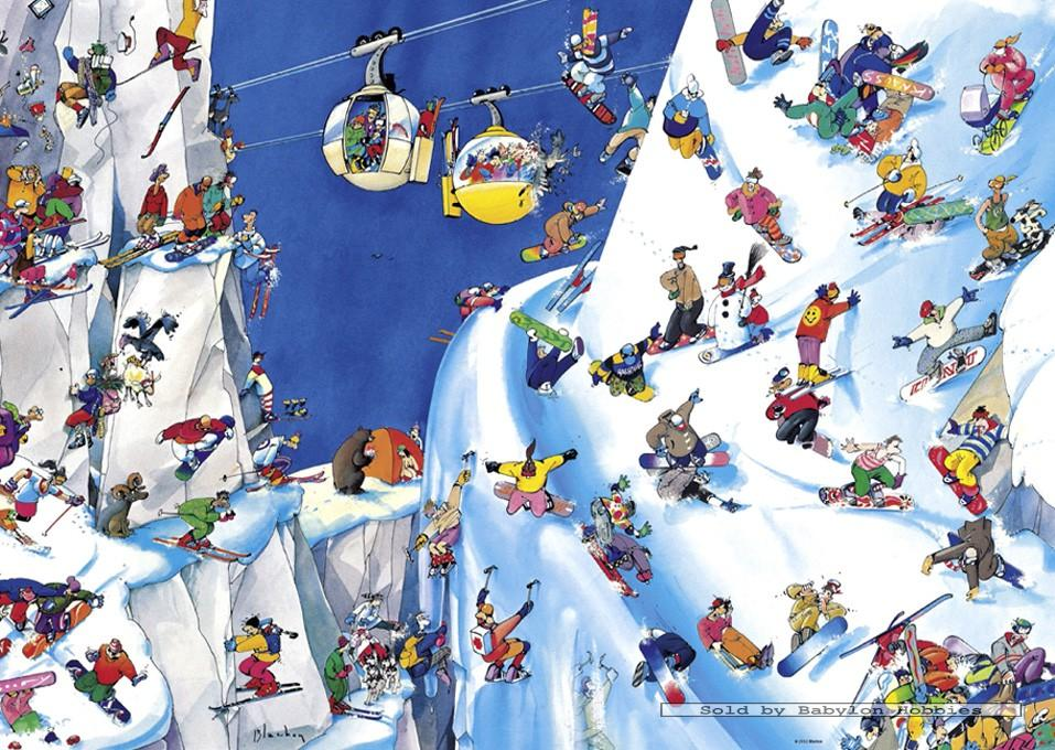 gefeliciteerd sneeuw 1000 st puzzel: Blachon   Snowboards (Cartoon, Sneeuw, Bergen  gefeliciteerd sneeuw