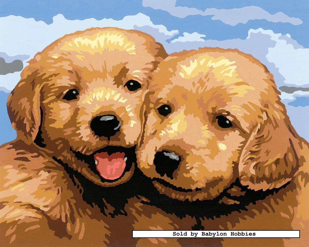 painting by numbers cute puppies by ravensburger. Black Bedroom Furniture Sets. Home Design Ideas
